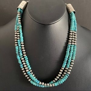 Jewelry - SterlingSilver Multi Strand Turquoise BeadNecklace
